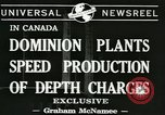 Image of depth charges Canada, 1941, second 3 stock footage video 65675059337