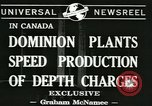 Image of depth charges Canada, 1941, second 4 stock footage video 65675059337