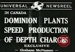 Image of depth charges Canada, 1941, second 7 stock footage video 65675059337