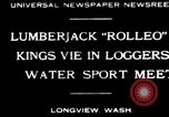 Image of logrolling Longview Washington USA, 1930, second 1 stock footage video 65675059954