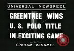 Image of Polo player Jock Whitney New York United States USA, 1935, second 2 stock footage video 65675060557