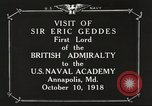 Image of British Navy officers visit US Naval Academy Annapolis Maryland USA, 1918, second 4 stock footage video 65675060987