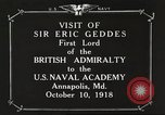 Image of British Navy officers visit US Naval Academy Annapolis Maryland USA, 1918, second 8 stock footage video 65675060987