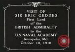 Image of British Navy officers visit US Naval Academy Annapolis Maryland USA, 1918, second 9 stock footage video 65675060987