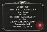 Image of British Navy officers visit US Naval Academy Annapolis Maryland USA, 1918, second 11 stock footage video 65675060987