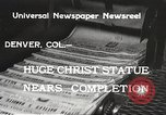 Image of huge statue of Christ Denver Colorado USA, 1934, second 7 stock footage video 65675061010