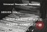 Image of huge statue of Christ Denver Colorado USA, 1934, second 9 stock footage video 65675061010