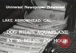 Image of Dog water skiing California United States USA, 1934, second 6 stock footage video 65675061011