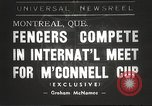 Image of fencers Montreal Quebec Canada, 1938, second 1 stock footage video 65675061119