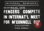 Image of fencers Montreal Quebec Canada, 1938, second 5 stock footage video 65675061119