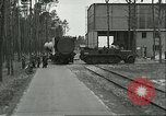 Image of A-4 missile towed for simulated launch at Test Stand 5 Peenemunde Germany, 1943, second 4 stock footage video 65675062547