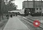 Image of A-4 missile towed for simulated launch at Test Stand 5 Peenemunde Germany, 1943, second 9 stock footage video 65675062547