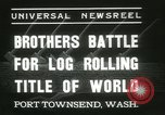 Image of log-rolling championship Port Townsend Washington USA, 1937, second 9 stock footage video 65675062689