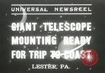 Image of mounting of telescope Lester Pennsylvania USA, 1937, second 1 stock footage video 65675063195