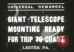 Image of mounting of telescope Lester Pennsylvania USA, 1937, second 6 stock footage video 65675063195