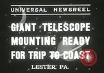 Image of mounting of telescope Lester Pennsylvania USA, 1937, second 10 stock footage video 65675063195