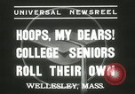 Image of hoop-rolling championship Wellesley Massachusetts USA, 1937, second 11 stock footage video 65675063196