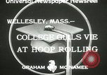 Image of hoop-rolling contest Wellesley Massachusetts USA, 1933, second 3 stock footage video 65675063201