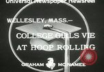 Image of hoop-rolling contest Wellesley Massachusetts USA, 1933, second 6 stock footage video 65675063201