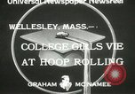 Image of hoop-rolling contest Wellesley Massachusetts USA, 1933, second 9 stock footage video 65675063201