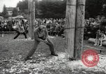Image of tree-chopping and sawing contest Bavaria Germany, 1967, second 6 stock footage video 65675063266