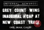 Image of Inaugural Handicap Race Del Mar California USA, 1937, second 1 stock footage video 65675063628
