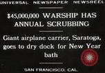 Image of USS Saratoga San Francisco California USA, 1929, second 7 stock footage video 65675063698
