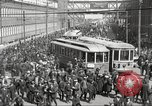 Image of trolleys outside factory United States USA, 1918, second 5 stock footage video 65675063746