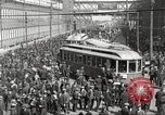 Image of trolleys outside factory United States USA, 1918, second 6 stock footage video 65675063746
