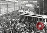 Image of trolleys outside factory United States USA, 1918, second 7 stock footage video 65675063746