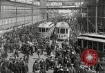 Image of trolleys outside factory United States USA, 1918, second 9 stock footage video 65675063746