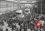 Image of trolleys outside factory United States USA, 1918, second 12 stock footage video 65675063746