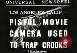 Image of Pistol movie camera Los Angeles California USA, 1935, second 1 stock footage video 65675063945