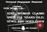 Image of 128 year old woman Delhi California USA, 1933, second 9 stock footage video 65675066032