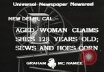 Image of 128 year old woman Delhi California USA, 1933, second 11 stock footage video 65675066032