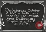 Image of balloon race Detroit Michigan USA, 1925, second 2 stock footage video 65675066084