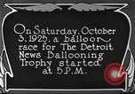 Image of balloon race Detroit Michigan USA, 1925, second 11 stock footage video 65675066084