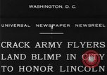 Image of Army aviators land blimp at Lincoln Memorial Washington DC, 1930, second 2 stock footage video 65675068048