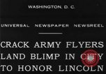 Image of Army aviators land blimp at Lincoln Memorial Washington DC, 1930, second 10 stock footage video 65675068048