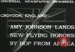 Image of Aviator Amy Johnson Croydon London England United Kingdom, 1932, second 4 stock footage video 65675068201