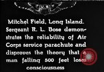 Image of Air Service Sergeant Bose demonstrates parachuting at Mitchel Field Long Island New York USA, 1930, second 1 stock footage video 65675068847