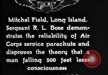 Image of Air Service Sergeant Bose demonstrates parachuting at Mitchel Field Long Island New York USA, 1930, second 4 stock footage video 65675068847