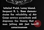 Image of Air Service Sergeant Bose demonstrates parachuting at Mitchel Field Long Island New York USA, 1930, second 6 stock footage video 65675068847