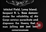 Image of Air Service Sergeant Bose demonstrates parachuting at Mitchel Field Long Island New York USA, 1930, second 7 stock footage video 65675068847