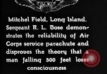 Image of Air Service Sergeant Bose demonstrates parachuting at Mitchel Field Long Island New York USA, 1930, second 9 stock footage video 65675068847