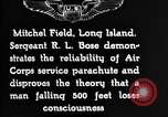 Image of Air Service Sergeant Bose demonstrates parachuting at Mitchel Field Long Island New York USA, 1930, second 10 stock footage video 65675068847