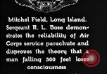 Image of Air Service Sergeant Bose demonstrates parachuting at Mitchel Field Long Island New York USA, 1930, second 11 stock footage video 65675068847