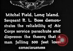 Image of Air Service Sergeant Bose demonstrates parachuting at Mitchel Field Long Island New York USA, 1930, second 12 stock footage video 65675068847