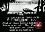 Image of President Coolidge at White Pine Campo Paul Smiths New York USA, 1926, second 2 stock footage video 65675068973