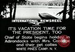 Image of President Coolidge at White Pine Campo Paul Smiths New York USA, 1926, second 4 stock footage video 65675068973